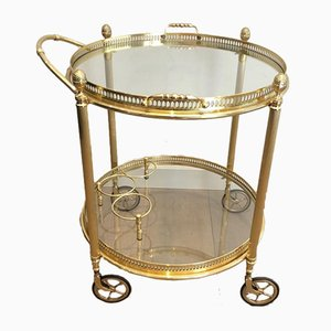 French Round Brass Drinks Trolley with Removable Trays from Maison Bagués, 1940s