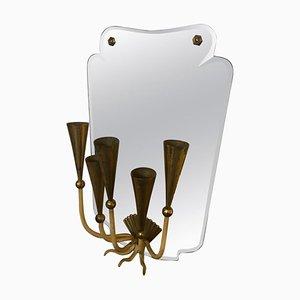 Italienischer Mid-Century Spiegel mit 5 Leuchten von Pietro Chiesa, 1950er