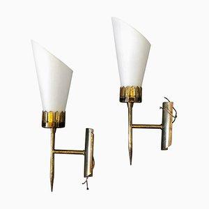 Italienische Mid-Century Messing & Glas Wandlampen von Stilnovo, 1950er, 2er Set