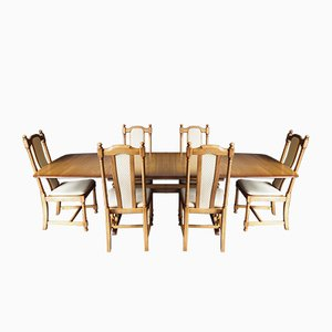 Mid-Century Elm Golden Dawn Extending Dining Table & Chairs Set from Ercol, 1980s, Set of 7