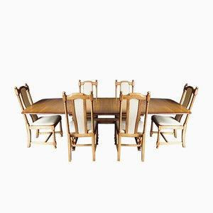 Set Table de Salle à Manger & Chaises Dorées Dorées Mid-Century de Ercol, 1980s, Set de 7