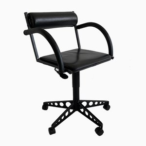 Postmodern Black Leather Swivel Desk Chairs, 1980s, Set of 2