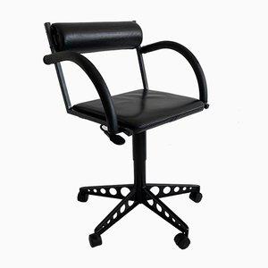 Sedie da scrivania girevoli postmoderne in pelle nera, anni '80, set di 2