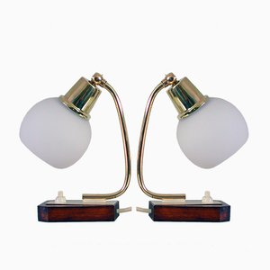 Mid-Century Scandinavian Teak, Brass, and Opaline Glass Table Lamps, 1950s, Set of 2