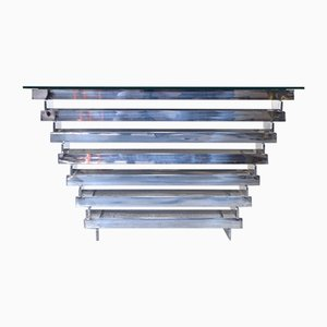 Mid-Century Italian Stacked Chrome and Tinted Glass Console Table, 1970s