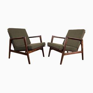 Olivgrüne Mid-Century Sessel von Swarzędzkie Fabryki Mebli, 1960er, 2er Set