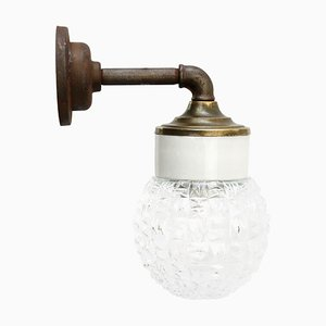 Vintage Industrial White Porcelain, Clear Glass, and Brass and Sconce