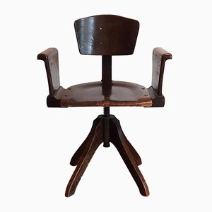 Silla de escritorio Art Déco de madera