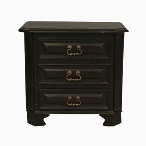 Small Antique Black Lacquered Wooden Chest, 1810