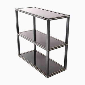 Lacquered Metal Console Table with Black Glass Shelves by Pierre Vandel, 1970s
