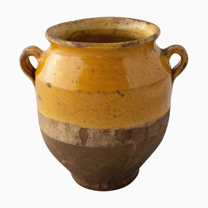 Small French Terracotta Confit Pot with a Yellow Glaze