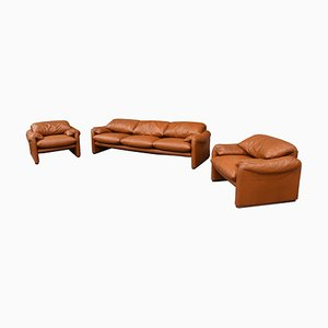 Early Maralunga Set in Original Tan Leather by Vico Magistretti for Cassina, 1973, Set of 3
