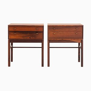 Mid-Century Scandinavian Rosewood Model Casino Nightstands by Sven Engström & Gunnar Myrstrand for Tingströms, 1960s, Set of 2