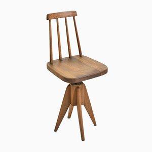 Mid-Century Dark Swivel Desk Chair, 1950s