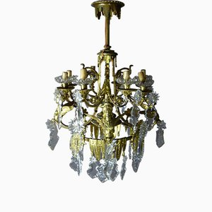 Golden Bronze Chandelier With Winged Sphinxes