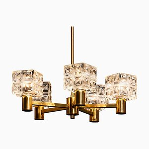Swedish Brass and Crystal Chandelier from Konsthantverk Tyringe 1, 1950s