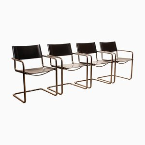 MG5 Black Leather Dining Chairs by Mart Stam for Matteo Grassi, 1970s, Set of 4