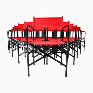Venetian Foldaböe Patio Garden Chairs in Steel, Brass and Red Fabric, 1980s, Set of 18
