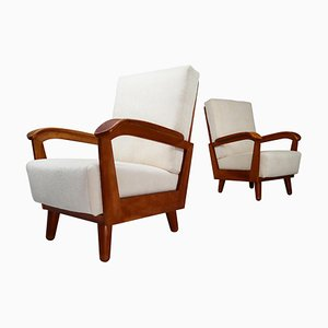 French Mid-Century Armchairs in Walnut and Reupholstered in Off-White Wool Fabric
