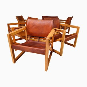 Mid-Century Safari Lounge Chairs in Patinated Cognac Saddle Leather, 1970s