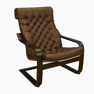 Mid-Century Danish Brown Leather & Ebonised Bentwood Armchair, 1980s