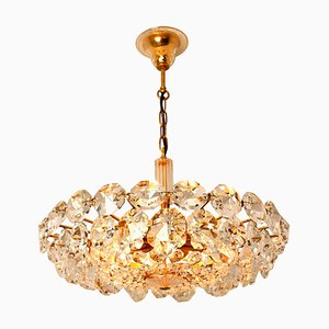 Bakalowits & Sohne Crystal Glass and Brass Chandelier by Palwa, 1960s