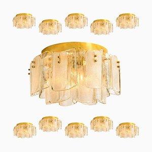 Deckenlampen aus Glas und Messing im Stil von Kalmar, 1969