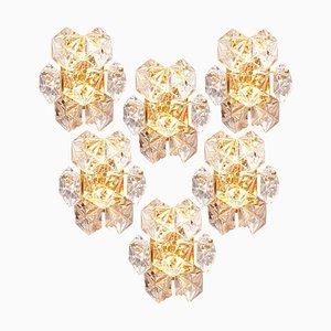 Wandlampen aus Kristallglas und vergoldetem Glas von Kinkeldey, 1960er, 6er Set