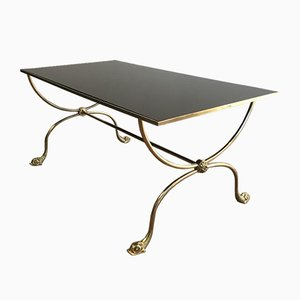 Neoclassical Style French Brass Coffee Table with Black Lacquered Glass Top, 1940s