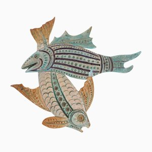 Large Ceramic Loving Fishes Wall Decoration Attributed to Aldo Londi for Bitossi, 1950s