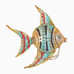 Large Ceramic Fighting Fish Wall Decoration Attributed to Aldo Londi for Bitossi, 1950s