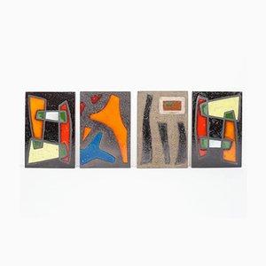 Große Französische Kunstfliesen, 1950er, 4er Set