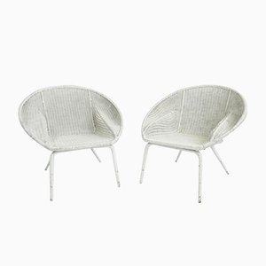 Weaved Wicker Nest Armchairs by Carlo Santi, Italy, 1950s, Set of 2