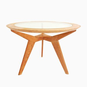 Architectural Round Maple and Glass Table Attributed to Osvaldo Borsani, 1950s