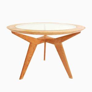Tavolo rotondo architettonico in vetro ed acero di Osvaldo Borsani, anni '50