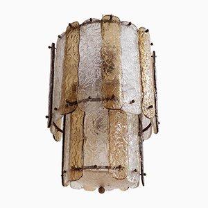 Striped Corteccia Glass Pendant Lamp, 1960s