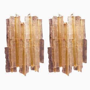 Elica-Wandleuchten aus Goldglas von Toni Zuccheri für Venini, Italien, 1968, 2er-Set