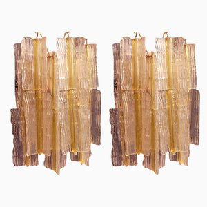 Gold Glass Elica Sconces by Toni Zuccheri for Venini, Italy, 1968, Set of 2