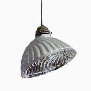 Diagonal geschliffene silberne Glaslampe von B & J, 1940er