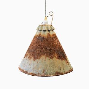 Industrielle Mid-Century Metall Deckenlampe, 1950er