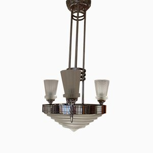Nickel and Geometric Glasses Ceiling Lamp by Jules Leleu for Maison Leleu, 1930s