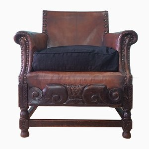 Antique Arts & Crafts Leather Armchair, 1900s