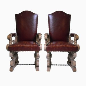 Oak and Dark Red Leather Armchairs by Jean Charles Moreaux, 1940s, Set of 2