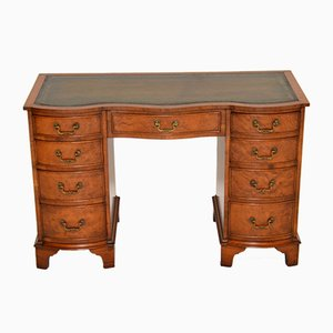 Antique Burl Walnut and Leather Top Desk, 1930s