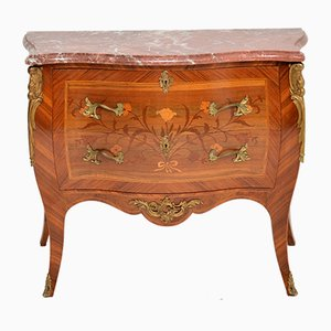 Antique French Inlaid Marquetry Rosewood and Marble Top Chest of Drawers, 1920s
