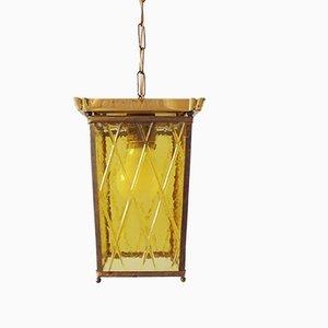 Plafonnier Lanterne en Laiton et Verre Taillé, 1950s