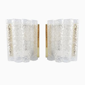 Ice Glass Sconces from Doria Leuchten, 1960s, Set of 2