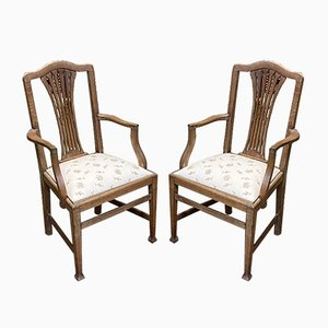 Vintage English Oak Lounge Chairs, Set of 2
