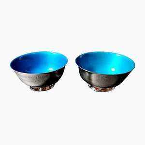 Antique Silver Plated Enameled Bowls from Reed & Barton, Set of 2