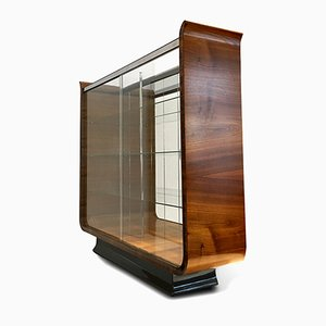 Art Deco Walnut Veneer and Glass Tulip Display Cabinet by Jindřich Halabala for UP Závody, 1930s